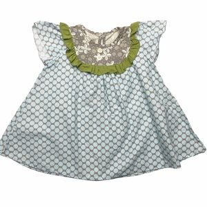 Persnickety Blue & Gray Peasant Style Top